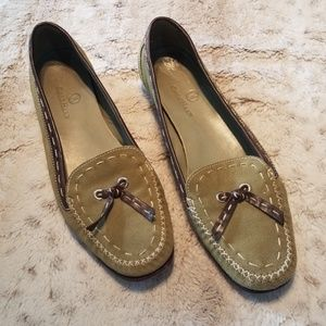 Cole Haan Moss Green Suede Loafers w Leather Trim